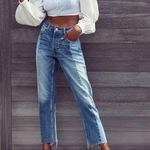 BDG Jessye Split Denim Straight Leg Spliced Jeans